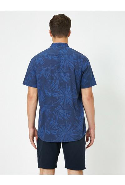 Koton Erkek Yaprak Desenli Kısa Kollu Gömlek