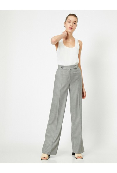 Koton Kadın Normal Bel Düğme Detaylı İspanyol Paça Pantolon