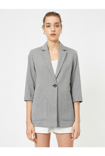 Koton Kadın V Yaka Düğme Detaylı Cepli Ceket