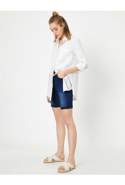 Koton Kadın Cep Detaylı Slim Fit Jean Şort