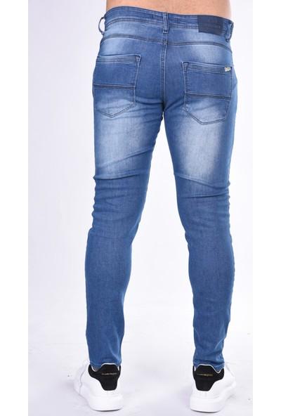 Black Steel Denim Slim Fit Lazerli 20064 Pantolon