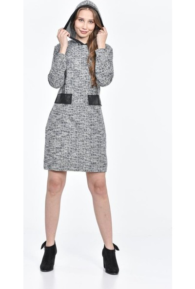 Modkofoni Kapüşonlu Cep ve Şerit Detaylı Kırçıllı Lacivert Elbise
