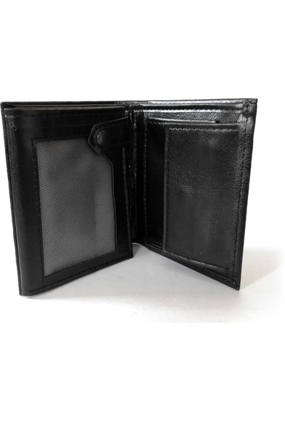 Cascades Leather Siyah Renk Dik Model 3 Erkek Cüzdan