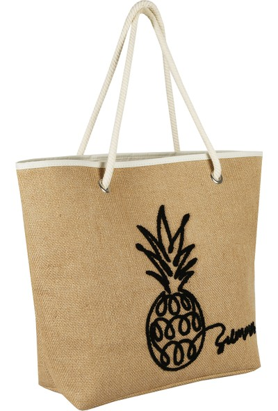 Bakras Ananas Nakışlı Shopper Plaj Çantası