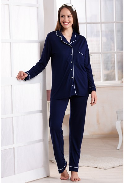 Emose Düğmeli Kadın Pijama Takım Lacivert