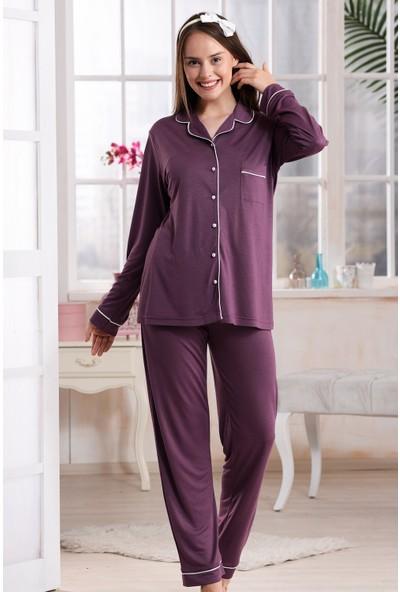 Emose Düğmeli Kadın Pijama Takım Mürdüm