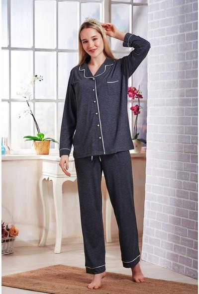 Emose Düğmeli Kadın Pijama Takım Füme