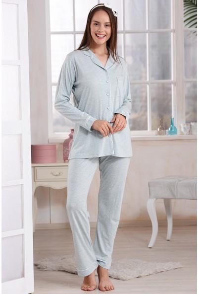 Emose Düğmeli Kadın Pijama Takım Mint Yeşili