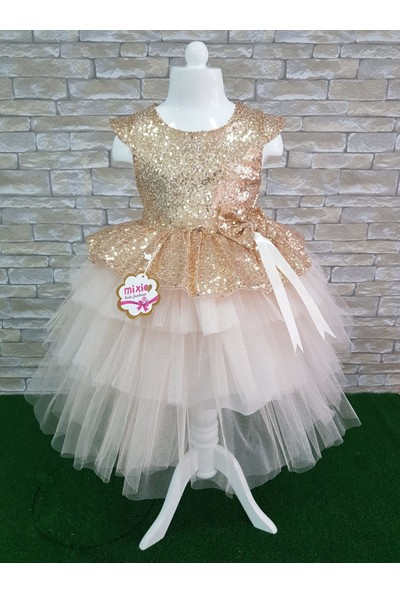 Mixie Baby Gold Kız Çocuk Özel Gün Doğum Günü Abiye Elbise