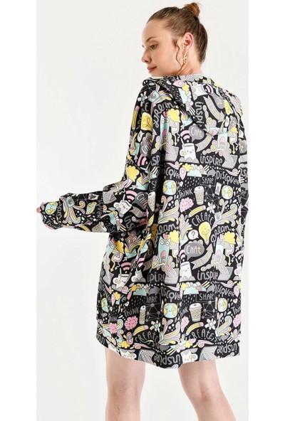 Bigdart 4125 Grafik Desenli Oversize Sweat Elbise Siyah 38