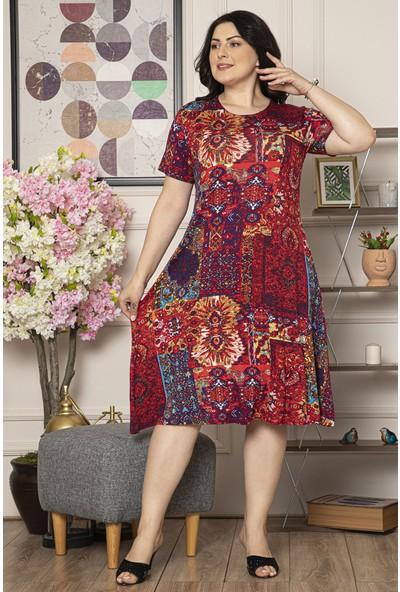 1fazlası Kadın Büyük Beden Çiçek Baskılı Viskon Elbise