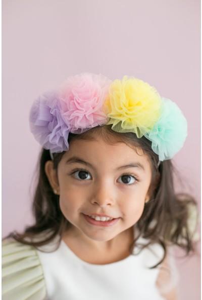 Pixy Love Renkli Kız Çocuk Taç Mini Puffies