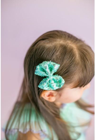 Pixy Love Yeşil Kız Çocuk 2'Li Klips Fiyonk Spangle