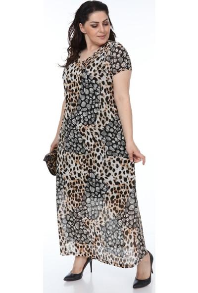 Hanezza Leopar Desenli Elbise