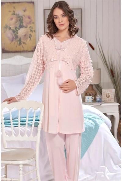 Emose 3920 Pullu 3'lü Sabahlıklı Lohusa Pijama Takım