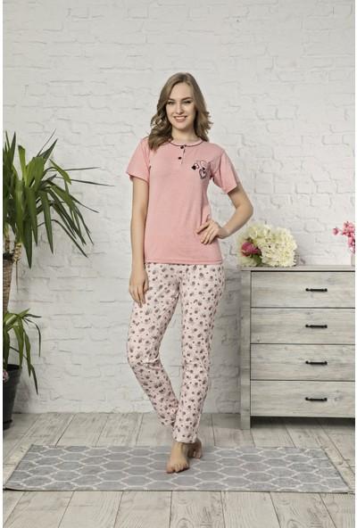 Tampap Kadın Pijama Takımı Tampap 479 Pamuklu Kısa Kol Pijama