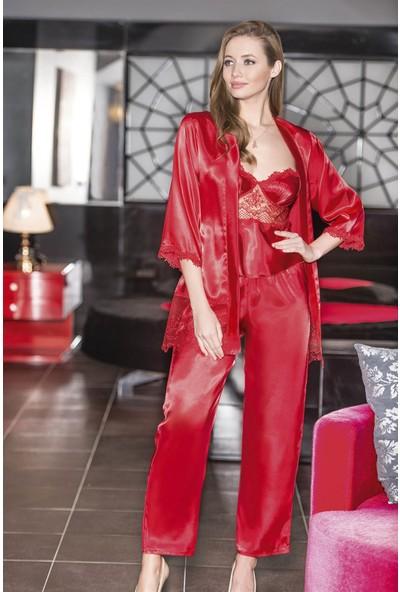 Ahu Kırmızı Üçlü Saten Sabahlık Gecelik Pijama Takımı