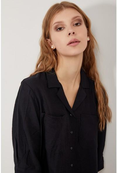 Manche Siyah Kadın Gömlek Mk20S162488