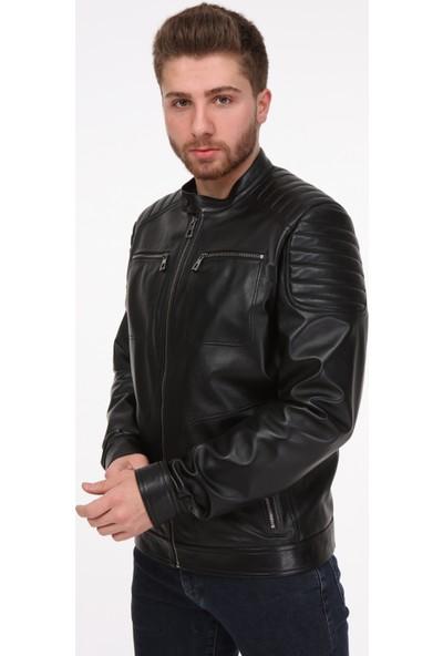 Vira Erkek Deri Ceket ZG7005 Siyah