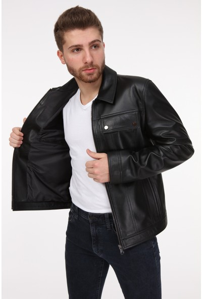 Vira Erkek Deri Ceket ZG7013 Siyah