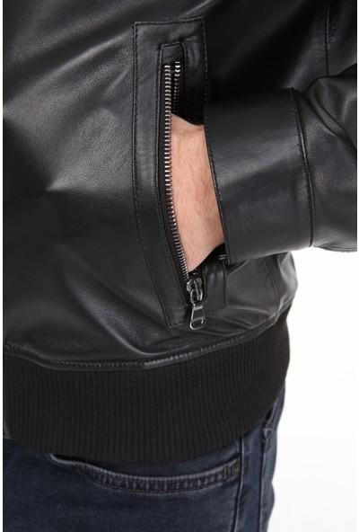 Vira Erkek Deri Ceket ZG7021 Siyah