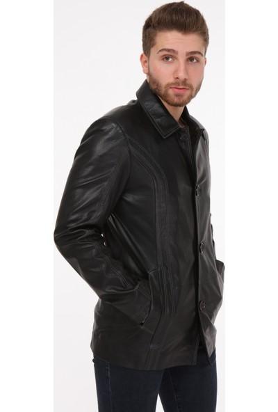 Vira Erkek Deri Ceket ZG7067 Siyah