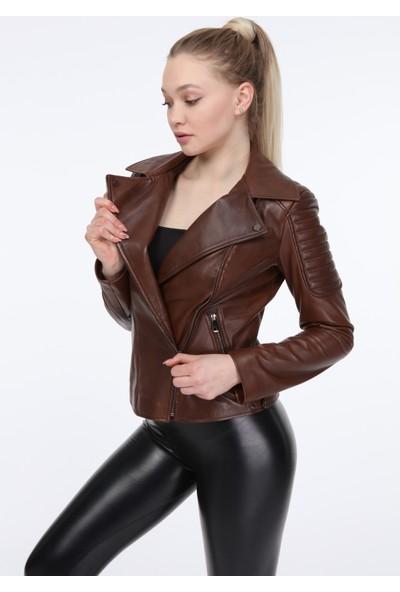 Vira Kadın Deri Ceket ZG1001 Kahve
