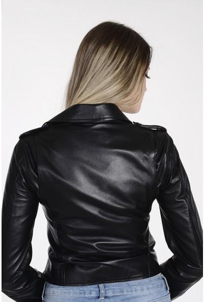 Vira Kadın Deri Ceket ZG1015 Siyah