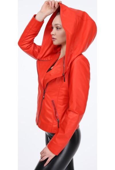 Vira Kadın Deri Ceket ZG1023 Nar Çiçeği