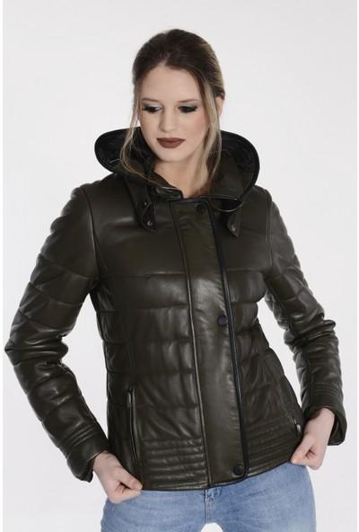 Vira Kadın Deri Ceket ZG1049 Haki Yeşil