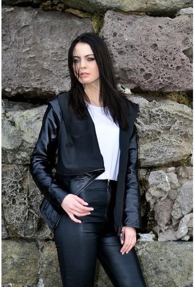 Vira Kadın Deri Ceket ZG4187 Siyah