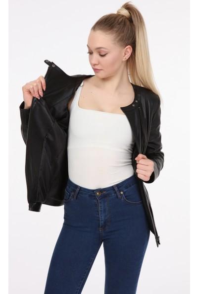 Vira Kadın Deri Ceket ZG7035 Siyah
