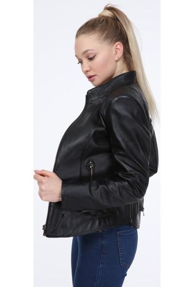 Vira Kadın Deri Ceket ZG7047 Siyah
