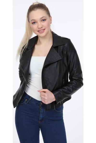 Vira Kadın Deri Ceket ZG7061 Siyah