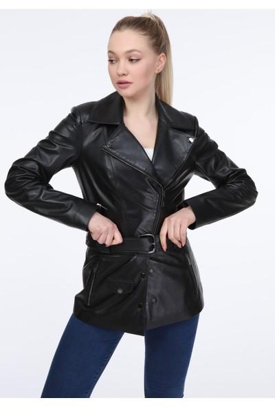 Vira Kadın Deri Ceket ZG7063 Siyah