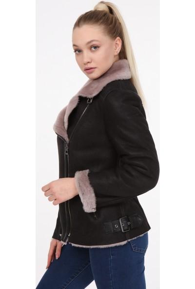 Vira Kadın Deri Kürk Ceket VK7006 Siyah