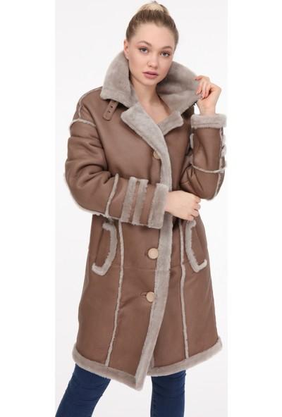 Vira Kadın Deri Kürk Ceket VK7269 Bej