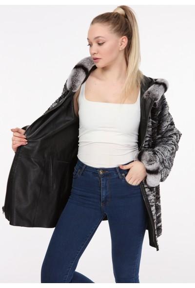 Vira Kadın Deri Kürk Ceket ZG7031 Siyah