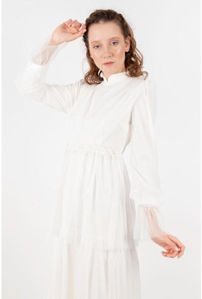 Puane 12154 Kadın Boncuk İşlemeli Tül Elbise 20Y