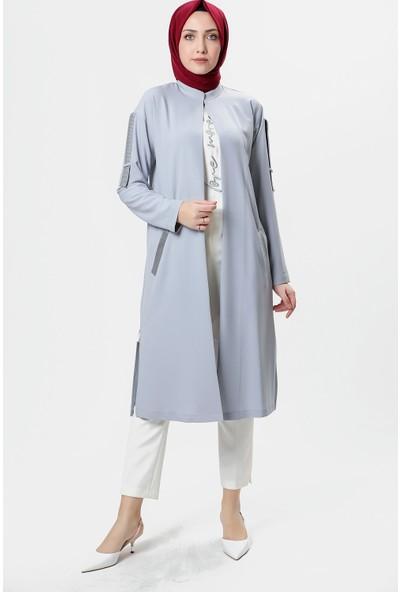 Kemal Aydın 6641 Kadın Takım Önü Yazılı Uzun Kol Tunik Kolu Şeritli Kap 20Y