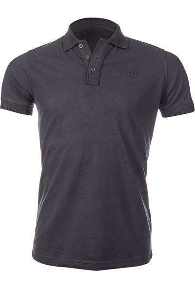 Wgust Antalya Erkek Lacost T-Shirt Koyu Gri XS