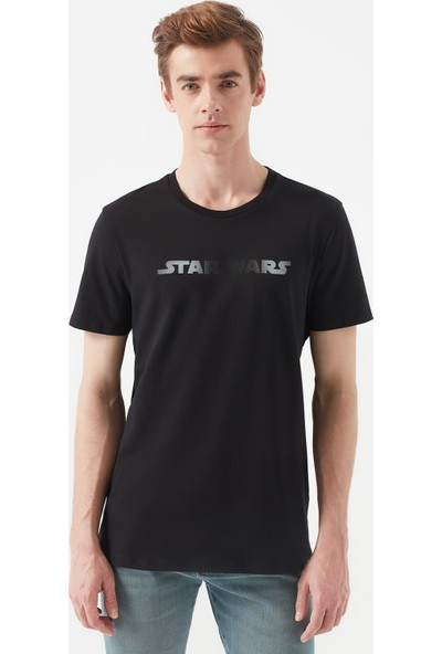Mavi Star Wars Baskılı Siyah Tişört 066473-900