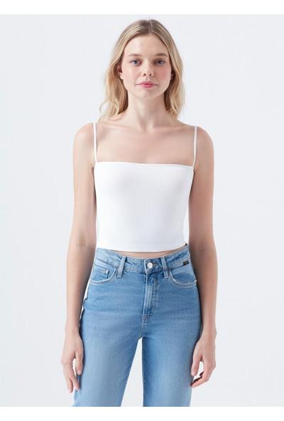 Mavi Seamless Askılı Beyaz Crop Top
