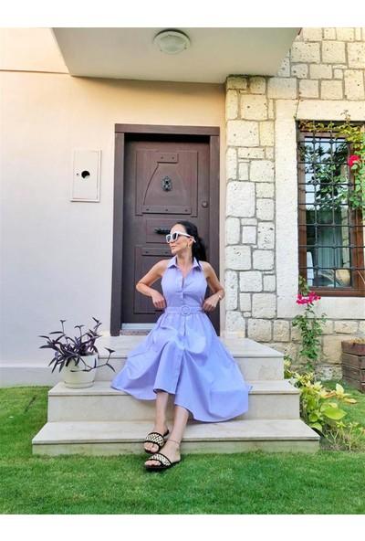 Hot Fashion Lila Sırtı Dantel Gömlek Elbise M