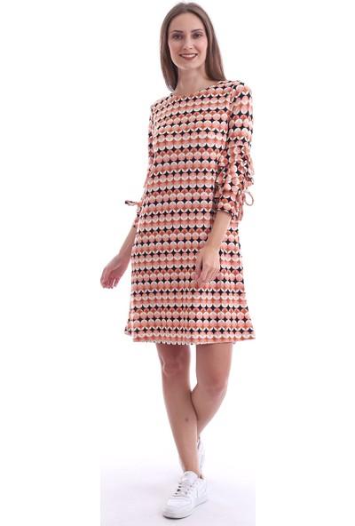 Cotton Mood 20073297 Örme Krep Desenli Kolu Katkat Fırfırlı Elbise Yavruağzı