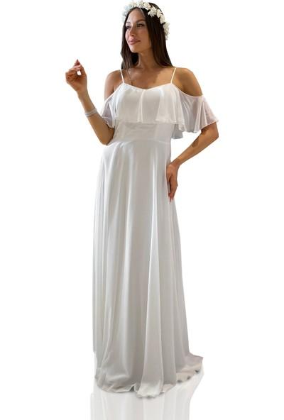 6IXTY8IGHT Ekru Askılı Uzun Abiye Elbise