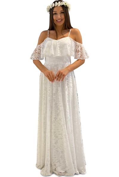 Carmen Ekru Dantelli Düşük Kollu Uzun Dış Çekim Elbisesi