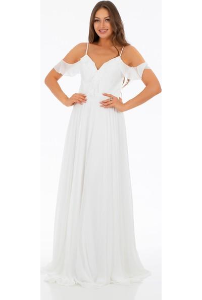 Carmen Ekru Şifon Göğsü Volanlı Uzun Abiye Elbise