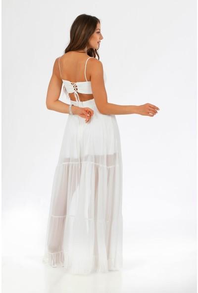 Carmen Ekru Şifon Pliseli Askılı Uzun Abiye Elbise