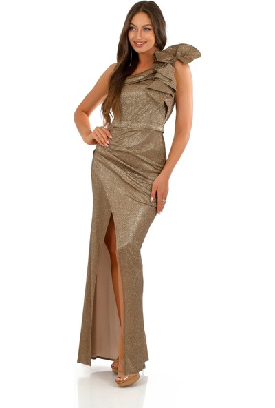 Carmen Gold Simli Tek Omuzlu Uzun Abiye Elbise